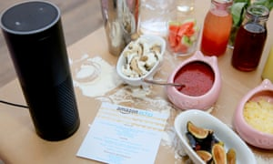 Amazon Echo at work ... it only works if you call its name. Photograph: Rachel Murray/WireImage