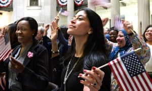 A US citizenship ceremony at the Federal Hall in New York.