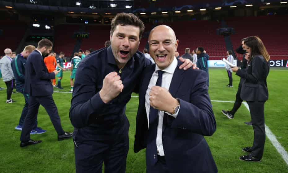 Daniel Levy with Mauricio Pochettino, who does not seem to be  on his way back to Spurs.