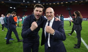 Mauricio Pochettino and Daniel Levy celebrate Spurs reaching the Champions League final after their stunning comeback against Ajax.