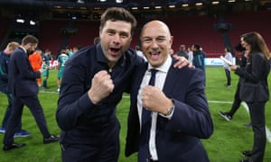 Mauricio Pochettino celebrates Tottenham's remarkable comeback win over Ajax with chairman Daniel Levy.