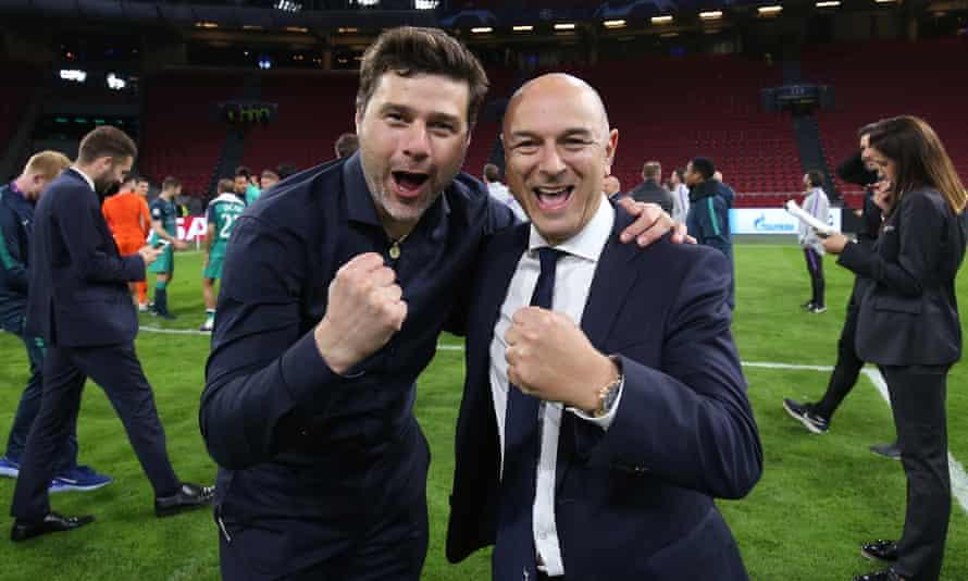 Mauricio Pochettino celebrates Tottenham's remarkable comeback win over Ajax with chairman Daniel Levy.