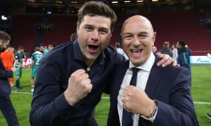 Mauricio Pochettino and Daniel Levy celebrate after their Champions League semi-final second leg win at Ajax in early May.