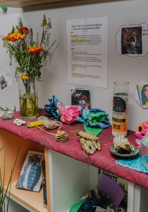 The Young Women Freedom Center's alter pays homage the group's ancestors and honors those who died incarcerated or on the streets.