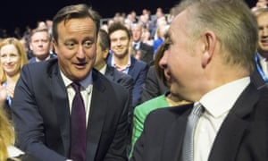 David Cameron talks to Michael Gove at the Tory party conference in 2015