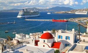 Cruise ships at Mykonos, Greece