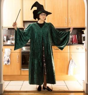 Xandra Robinson-Burns asProfessor Minerva McGonagall, at home in Edinburgh.