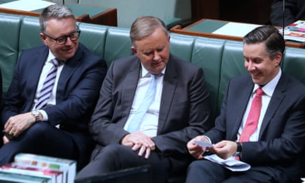 Anthony Albanese with Joel Fitzgibbon and Mark Butler