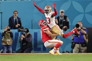 Moore interferes with a pass intended for Travis Kelce of the Kansas City Chiefs during the fourth quarter as the 49ers look to close the game out.