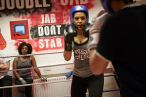 A sparring session between two local girls at the Double Jab boxing club in New Cross, south-east London