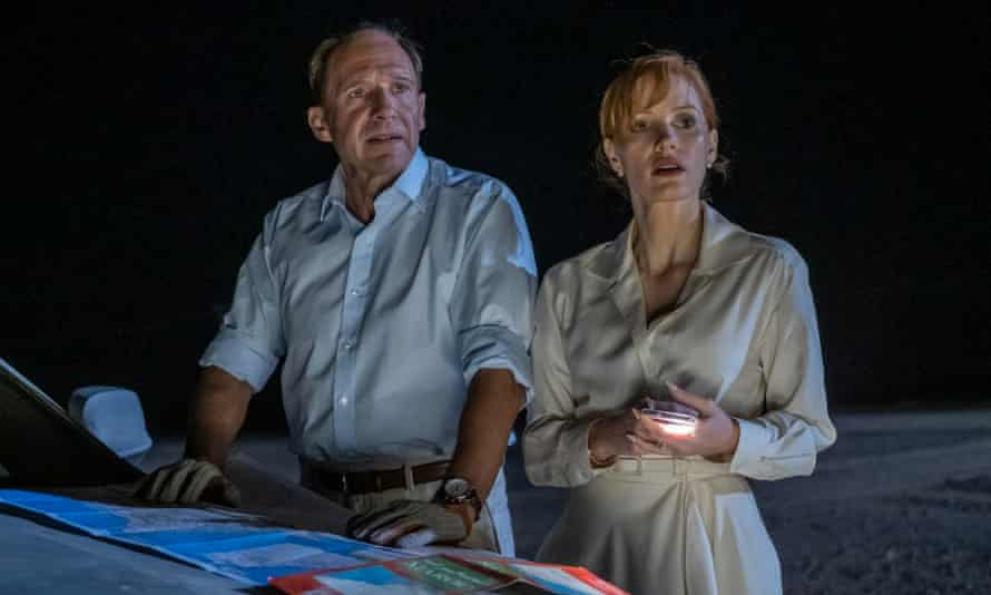 Ralph Fiennes and Jessica Chastain in The Forgiven, a strange watch, but never less than compelling.