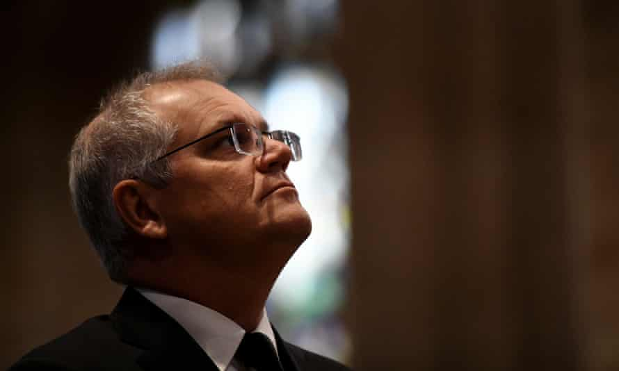 The prime minister, Scott Morrison, in church.