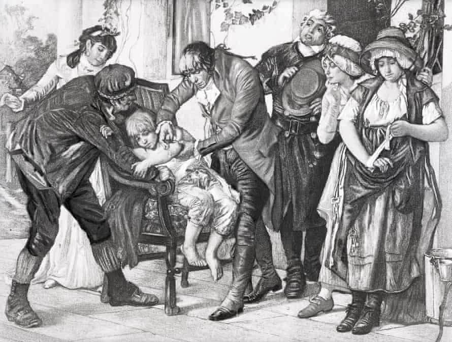 An illustration depicting English physician Edward Jenner administering a smallpox vaccination, performed on James Phipps in 1796