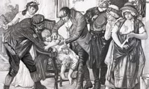 Illustration of English physician Edward Jenner's first smallpox vaccination, performed on James Phipps in 1796.
