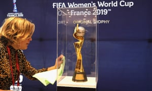 The women's World Cup trophy on display in Paris.