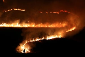 Blazing moorland near the town of Diggle