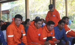 Workers from the Chinese firm BGP at a meeting in June in an indigenous Tacana village, very close to the company's operations in the Bolivian Amazon.