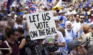 Protesters taking part in a march in London last year calling for a second referendum.