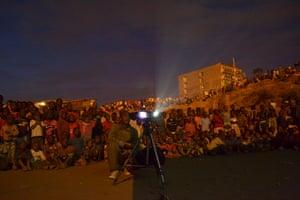 A public viewing in Kibera slum, Kenya.