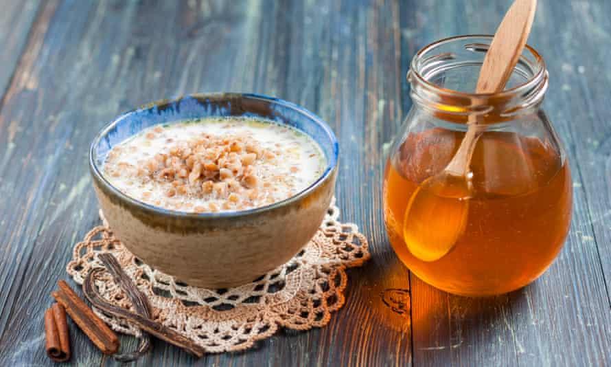 Porridge with milk and honey.