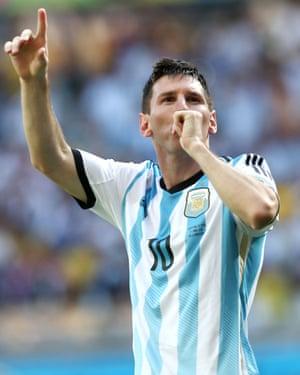 Lionel Messi celebrates after scoring for Argentina against Iran in Belo Horizonte.