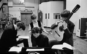The Beatles in EMI Recording Studios, later renamed Abbey Road Studios. London, England.1964 by David Hurn/ Magnum Photos