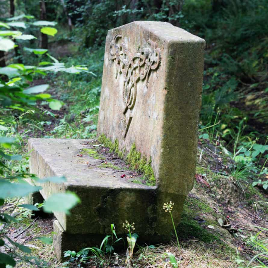 A stone bench in the woods above King's Meadow