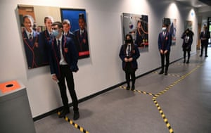 Year 10 students wait take a coronavirus test at Harris Academy Beckenham, ahead of full school reopening in England as part of lockdown restrictions being eased, in Beckenham, south east London, Britain, on 5 March, 2021.