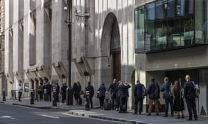 A queue outside the Old Bailey