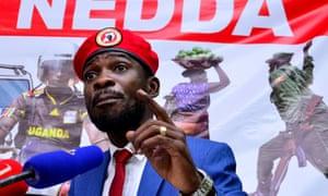 Ugandan musician turned politician Robert Kyagulanyi, also known as Bobi Wine. Photograph: Abubaker Lubowa/Reuters