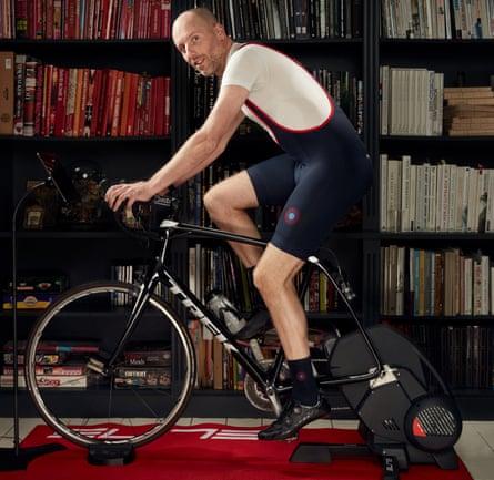 Simon Usborne virtual cycling with Peloton at home
