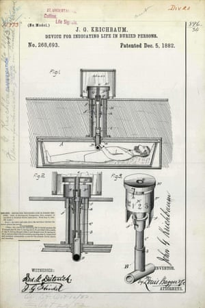 USA, 1882: Life indicator for coffins patented by John Krichbaum to save a person accidentally buried alive. The person would rotate a set of handles connected to a periscope like device while a dial visible above the surface revealed the movement