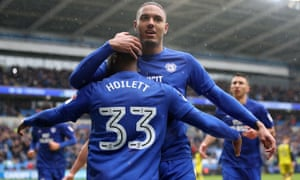 Cardiff City's Kenneth Zohore celebrates scoring his side's first goal against Burton