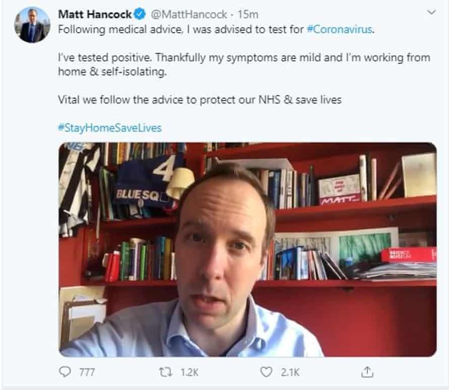 Matt Hancock making the announcement that he has tested positive for coronavirus via Twitter