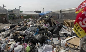 CGT union workers block access to the waste treatment centre at Ivry-sur-Seine, near Paris, on Friday.