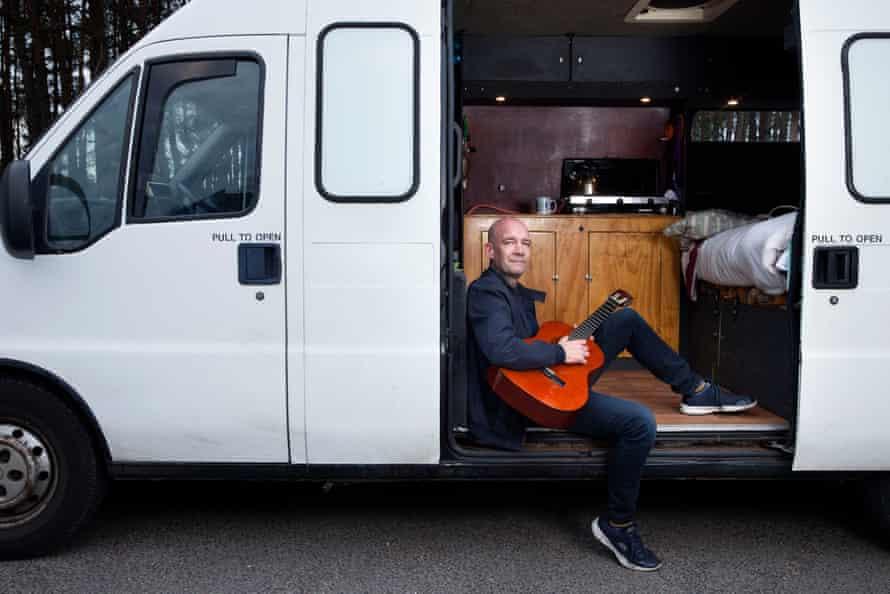 Jeremy Flynn, in his van near Ferndown, Dorset.