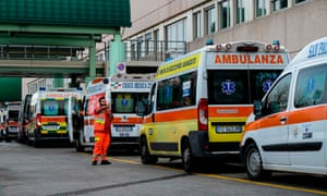Ambulances line up outside the emergency department at the Policlinico di Tor Vergata hospital in Rome.