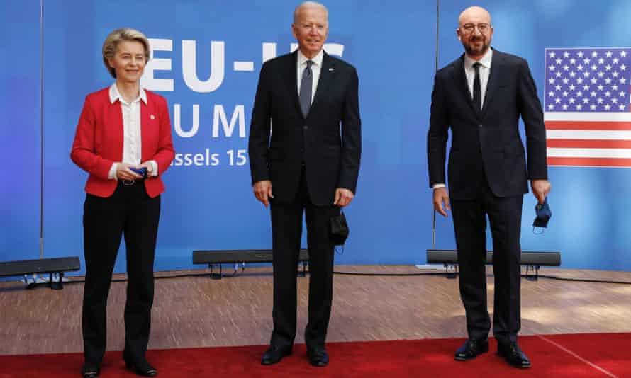 Joe Biden at the EU headquarters in Brussels, Belgium on Tuesday with European Council president Charles Michel and European Commission president Ursula von der Leyen