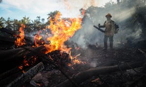 Firefighters battle blazes in an Indigenous reserve located in Humaitá, state of Amazonas, Brazil, on 7 September.