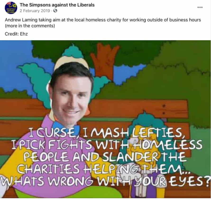 Facebook post from The Simpsons against the Liberals