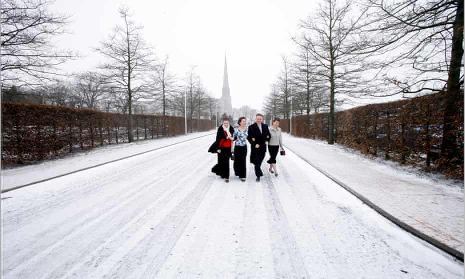Mormons at the Church of the Latter-day Saints in Chorley, Lancashire, the largest Mormon temple outside Utah.