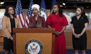 Rashida Tlaib, Ilhan Omar, Ayanna Pressley and Alexandria Ocasio-Cortez in Washington DC, on 16 July.