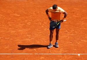 An unhappy Rafael Nadal.