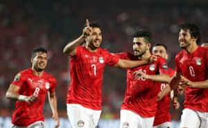 Egypt's Trezeguet celebrates scoring the opening goal.