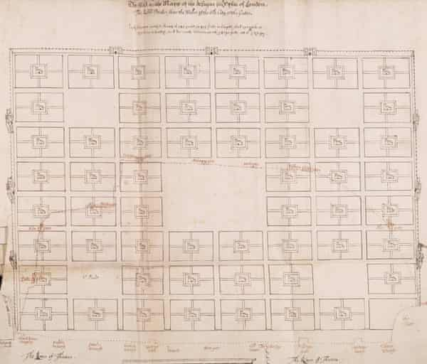 First plan for the rebuilding of London by Richard Newcourt (c) London Metropolitan Archives