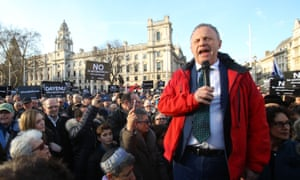 Labour MP John Mann speaks during the protest against antisemitism in the Labour party on 26 March.