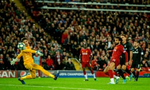 Mohamed Salah scores Liverpool's winning goal against RB Salzburg.