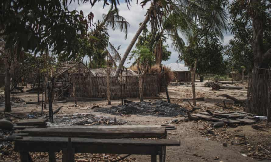 File photo shows destroyed houses in Mozambique's north-eastern Cabo Delgado province after an attack by Islamist militants.