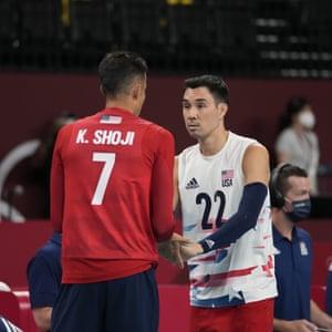 Kawika Shoji and Erik Shoji of the United States volleyball team