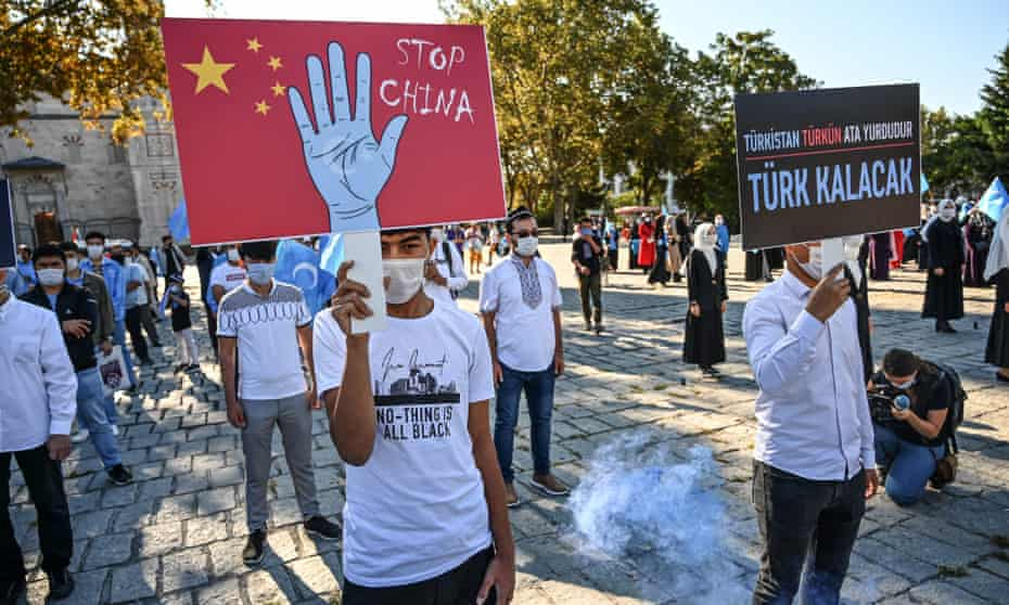 A demonstration in Beyazıt Square, Istanbul, against the Chinese government's treatment of the Uighur minority.
